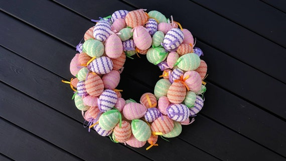 Easter Wreath, Easter Egg Wreath, Colorful Egg Wreath, Egg Wreath, Spring Wreath