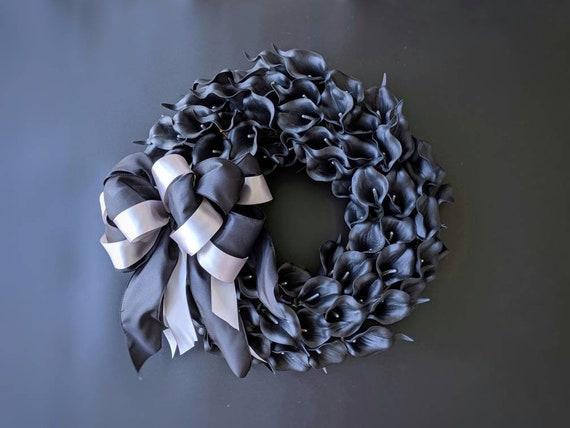 Halloween Wreath, Black Calla Lily Wreath,  Black Wreath, Elegant Halloween Wreath, Wedding Wreath