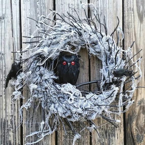 Halloween Wreath, Gossamer Black Twig Wreath