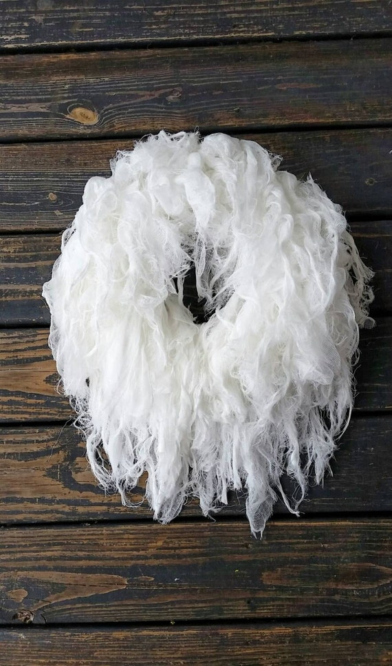 Wreath, Halloween Wreath, Gossamer White Gauze Wreath, White Gauze Wreath, White Halloween Wreath