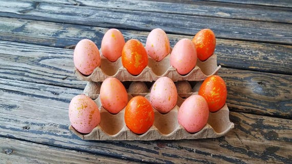 Decorative Easter Eggs, Artifical Easter Eggs, Gold Speckled Eggs, Orange Ombre Eggs