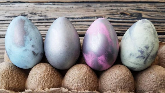 Decorative Easter Eggs, Easter Eggs, Metallic Eggs, Metal Leaf Eggs, Gilded Eggs, Distressed Silver Eggs
