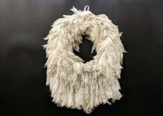 Wreath, Halloween Wreath, Gauze Wreath, Mummy Wreath, Gossamer Aged Gauze Wreath