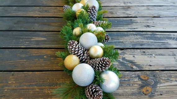 Garland, Christmas Garland, Holiday Garland, Mantel Garland, Fireplace Garland, 6 FT Pine Garland With Pine Cones and Silver/Gold Ornaments