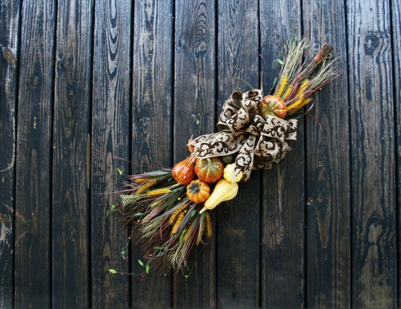 Thanksgiving Wreath Alternative, Cinnamon Broom with Pumpkins, Pumpkin Wreath, Fall Wreath, Halloween Wreath