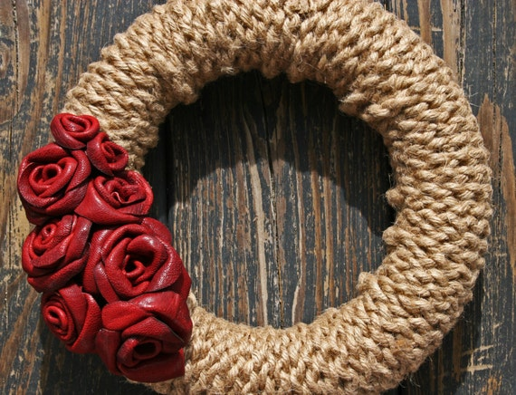 Wreath, Leather Jute Wreath