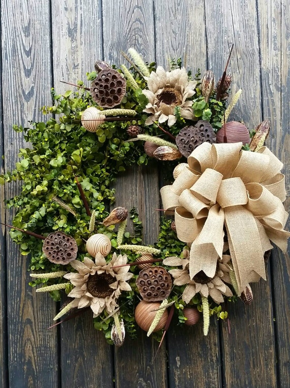 Wreath -  30 inch Dried Flower Wreath  -  Eucalyptus Wreath