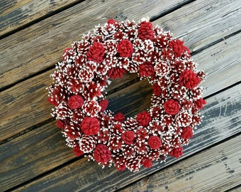 Christmas Wreath, Holiday Wreath, Pine Cone Wreath, Red and White Wreath