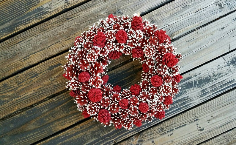 Christmas Wreath Holiday Wreath Pine Cone Wreath Red and image 0