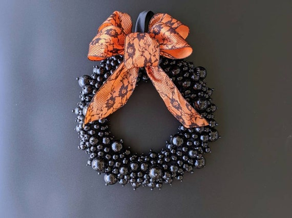 Halloween Wreath, Black Pearl Wreath, Jeweled Wreath, Pearl Wreath