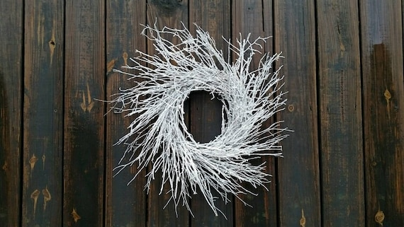 Christmas Wreath, Holiday Wreath, Snowy Twig Wreath, White Wreath