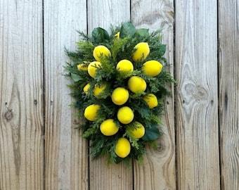 Sugared Lemon Swag, Christmas Teardrop Swag, Christmas Wreath