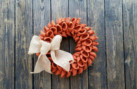 Burlap Wreath, Orange Burlap Wreath