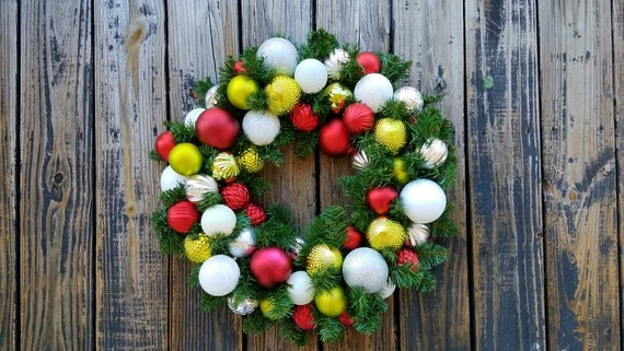 Christmas Wreath, Holiday Wreath, Ornament Wreath, Custom 20 Inch Pine Wreath With Red, Lime Green, White, and Silver Ornaments