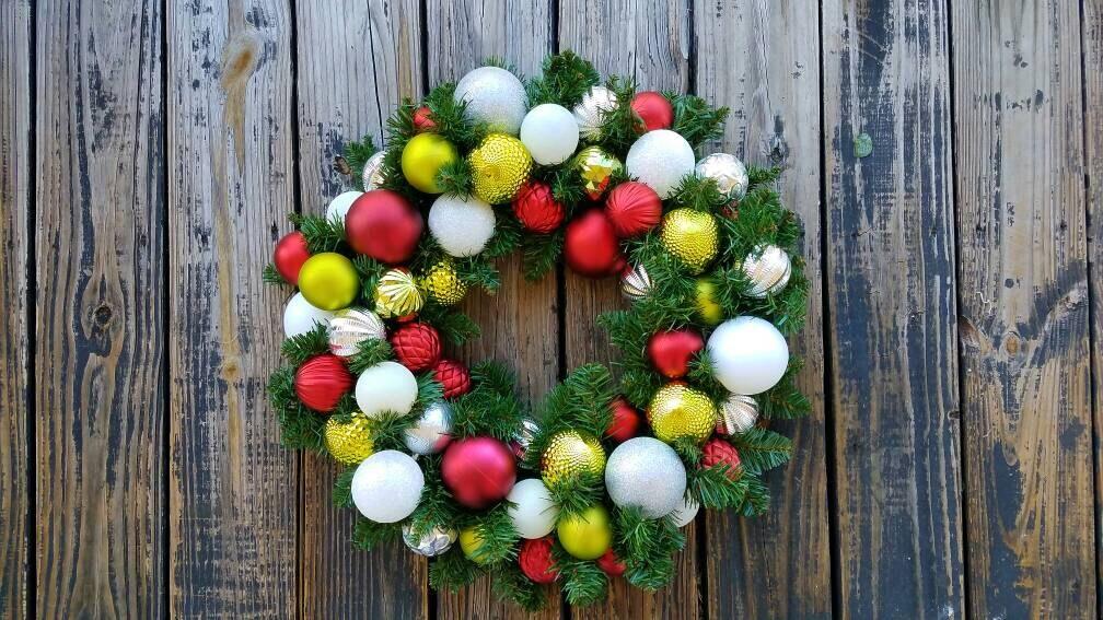 Christmas Wreath Holiday Wreath Ornament Wreath Custom 20 Inch