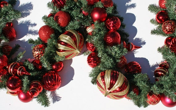 Christmas Garland, Holiday Garland, Mantel Garland, Fireplace Garland, Custom 9 Foot Pine Garland With Red And Gold Ornaments