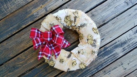Christmas Wreath, Holiday Wreath, Birch Bark Wreath, Rustic Wreath