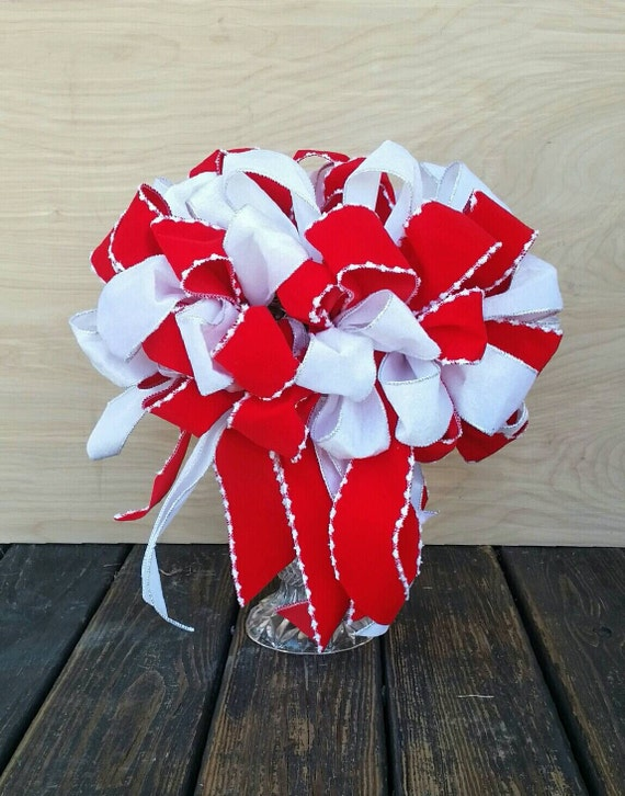 Christmas Tree Topper, Red and White Velvet Tree Topper