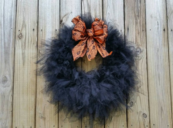 Halloween Wreath, Gossamer Black Wreath, Black Lace Wreath, Halloween Lace Wreath