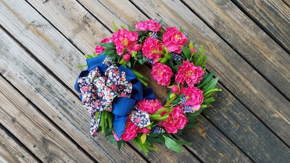 Spring Wreath, Summer Wreath, Mother's Day Wreath, Wedding Wreath, Pink Peony Wreath, Ready to Ship