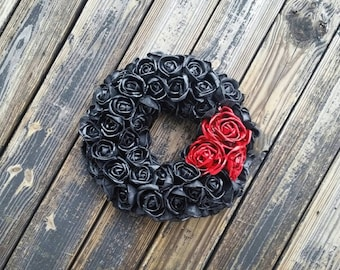 Halloween Wreath, Gothic Wreath, Black and Blood Red Flower Wreath Featured In Better Homes and Gardens Tricks And Treats Magazine