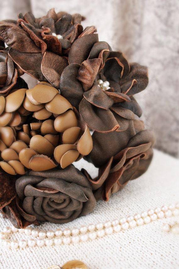 Bouquet, Leather Flower Bridal Bouquet