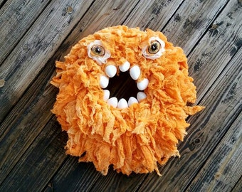 Halloween Wreath, Monster Wreath, Hand Dyed Orange Gauze Wreath, Ready to Ship,