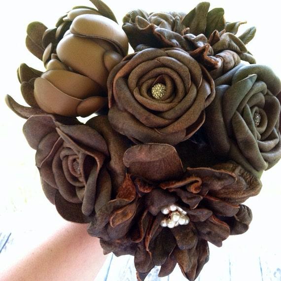 Bridal Bouquet Leather Flower Bridal Bouquet | Etsy