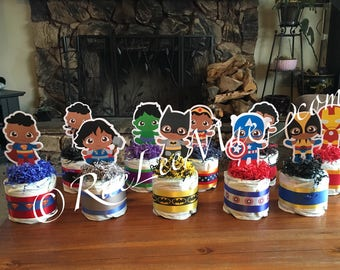African American Baby Super Hero Diaper Cake/Super Heroes diapercakes/Super Hero Baby Shower decorations/Batman/Superman/Spiderman/Hulk/Robi