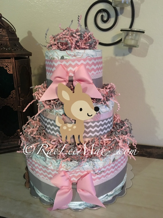 Fawn Baby Deer Diaper Cake Baby Girl Pink And Grey Chevron
