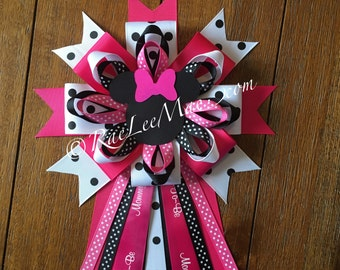 Minnie Mouse Corsage/Baby Shower Mommy-To-Be Pin/Minnie Mouse theme Party/baby shower corsage/Minnie mouse baby shower/daddy corsage/grandma