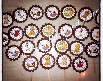 24 Lion King Simba baby shower or birthday cupcake toppers, Simba Theme Party,