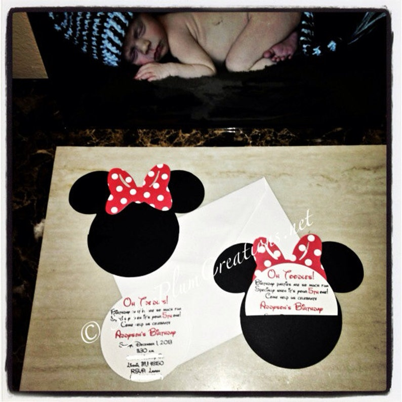 20 Minnie Mouse Custom Birthday Invitations