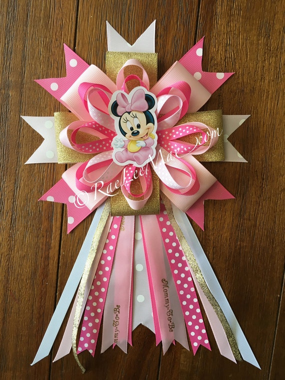 Baby Minnie Mouse Corsage Baby Shower Mommy To Be Pin Baby Etsy