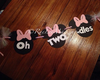 Minnie Mouse Oh Two-dles Banner,Minnie Mouse banner, Minnie Mouse Birthday Decor, Mickey Mouse banner, Minnie Mouse Photo Prop