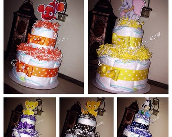 Disney babies two tiered diapercake centerpiece/Baby Disney Baby Shower/Mickey/Minnie/Simba/Nala/Dumbo/Nemo/Donald/Daisy/Goofy/Pluto