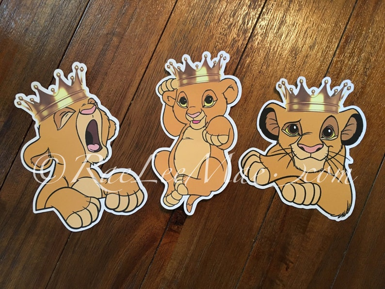 Crowned Simba Lion King Cutouts Diecuts Lion King Baby Shower Etsy