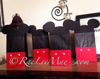 Mickey Mouse Inspired Favor Bags, Goody Bags, Loot Bags, Mickey Mouse Party Bags, Gift Bags, Mickey Mouse treat bags,