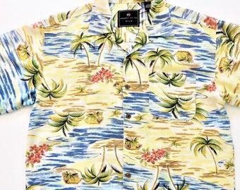 be2ff5e1 Silk Hawaiian Shirt, Robert Stock, Blue Yellow Brown Coral, Loop Collar, Palm  Trees, Tropical Print, Size Large, 90s Aloha Shirt, Unisex