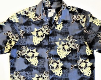 88140a58 Rayon Hawaiian Shirt, Gray Blue Yellow Hibiscus Print, Tropical Print Aloha  Shirt, Size Men's Medium, vintage 90s