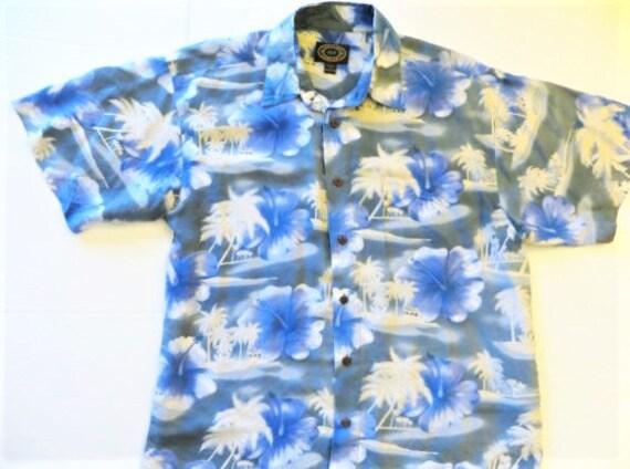 f815c908 Vintage Hawaiian Shirt Silk Hawaiian Shirt Blue Print Palm   Etsy