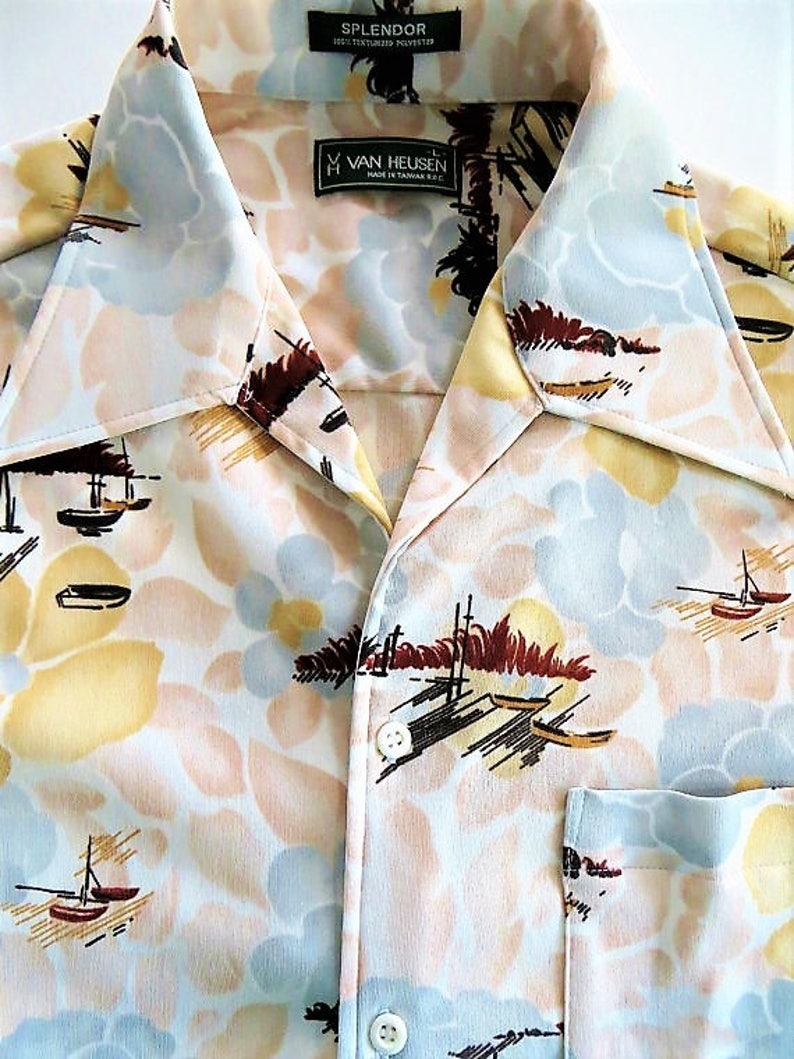 525ec7c6b21c 70s Disco Hawaiian Shirt Polyester Knit Flare Collar Van   Etsy