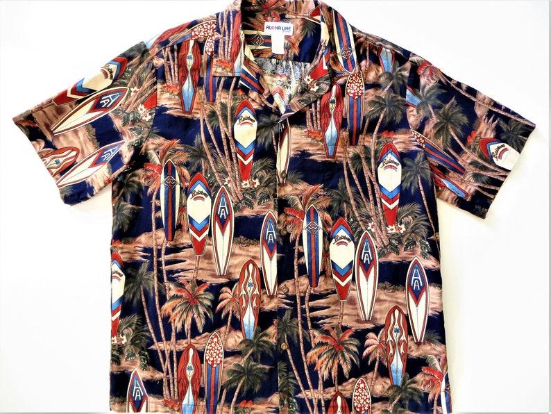 12b6653d Cotton Hawaiian Shirt Made in Hawaii Aloha Line Surf   Etsy