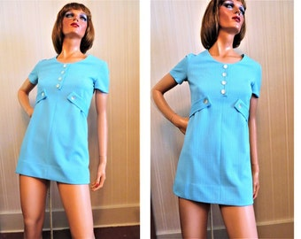 Vintage 60s Mini Dress, Mod Carnaby Street, Turquoise Blue Polyester Knit, Short Sleeves, A Line Summer Dress, Metal Zipper, size small
