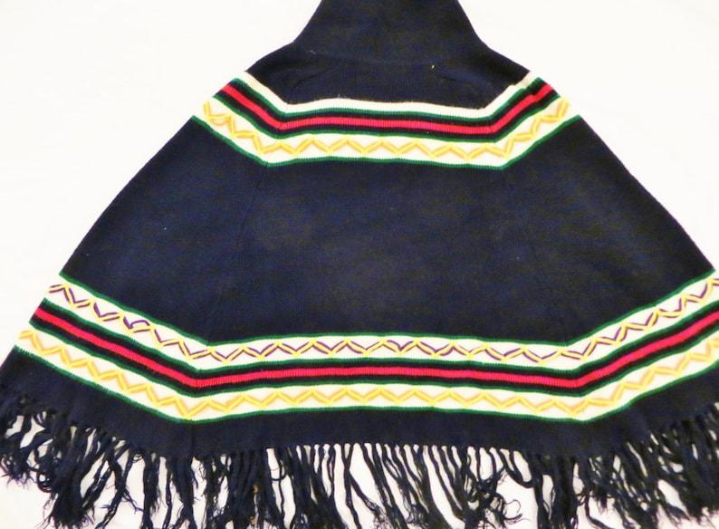 Vintage 70s Boho Fringe Poncho Navy Blue Cardigan Sweater Cape Chevron Stripe Knit Hippie Poncho Flare Collar