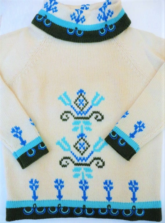 b3205268b2f 60s Embroidered Sweater White Turquoise Olive Green Nordic