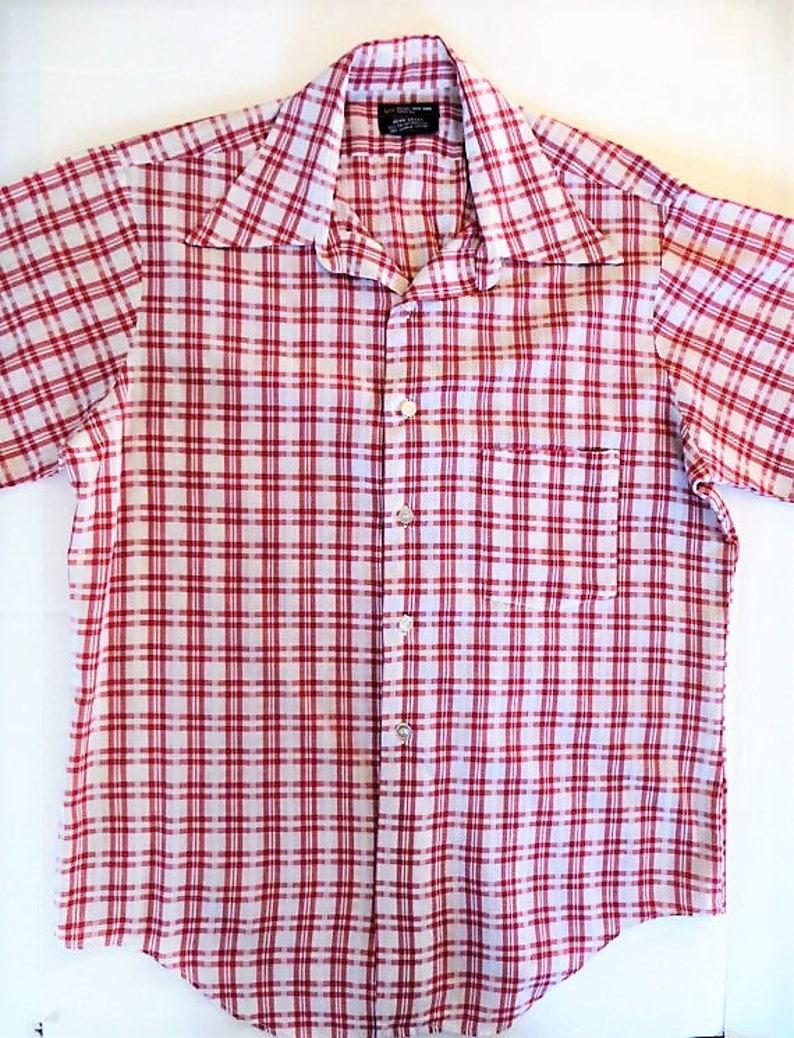 349abc0b50c3 60s 70s Penney's Shirt Red Plaid Short Sleeve Retro   Etsy