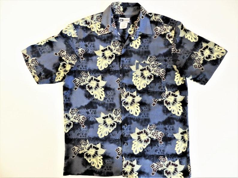 9fbce9d2 Rayon Hawaiian Shirt Gray Blue Yellow Hibiscus Print   Etsy