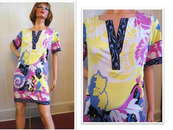 vintage 90s Silk Knit Mod Dress, Chemise, multicol