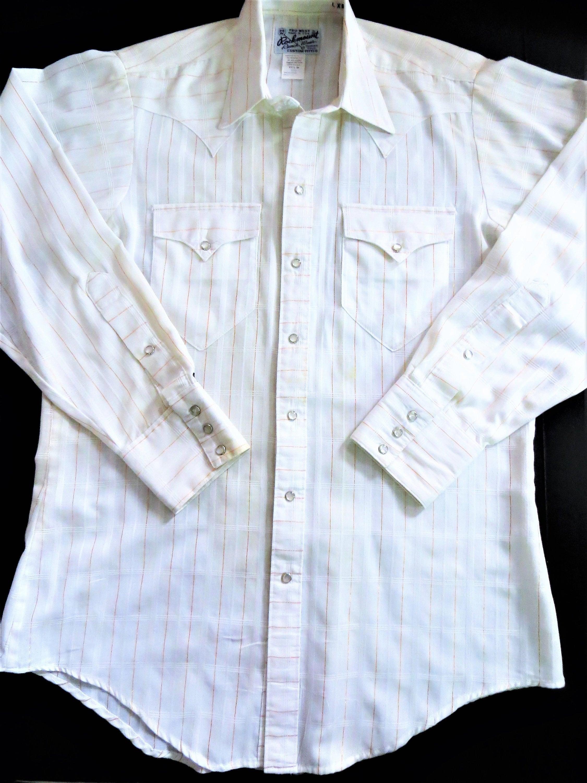 Rockmount Ranch Wear White Western Shirt Metallic Gold Etsy